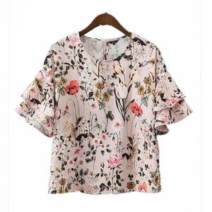Tops - Floral Tier Sleeve Blouse